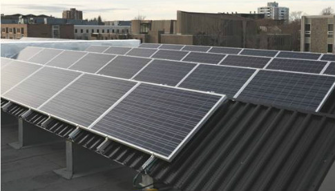 An 80 panel hybrid solarduct PV-T system installed on the roof of Dalhousie Universitie's Computer Science building